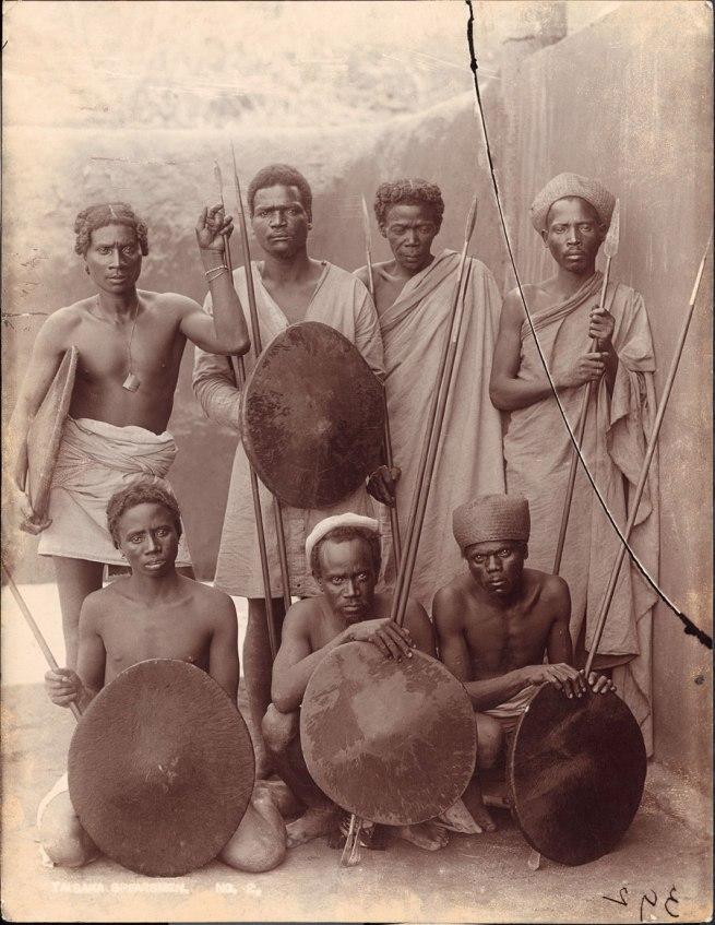 Henri Noyer (attr.), inscribed: 'Taisaka Spearsmen No. 2' Madagascar, early twentieth century