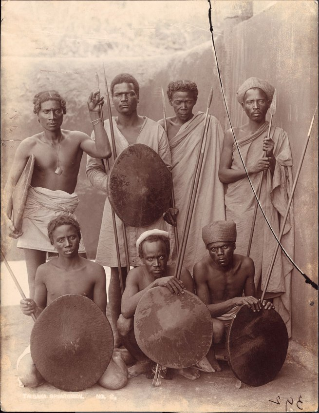 Henri Noyer (attr.), inscribed: 'Taisaka Spearsmen No. 2' Madagascar, early twentieth century