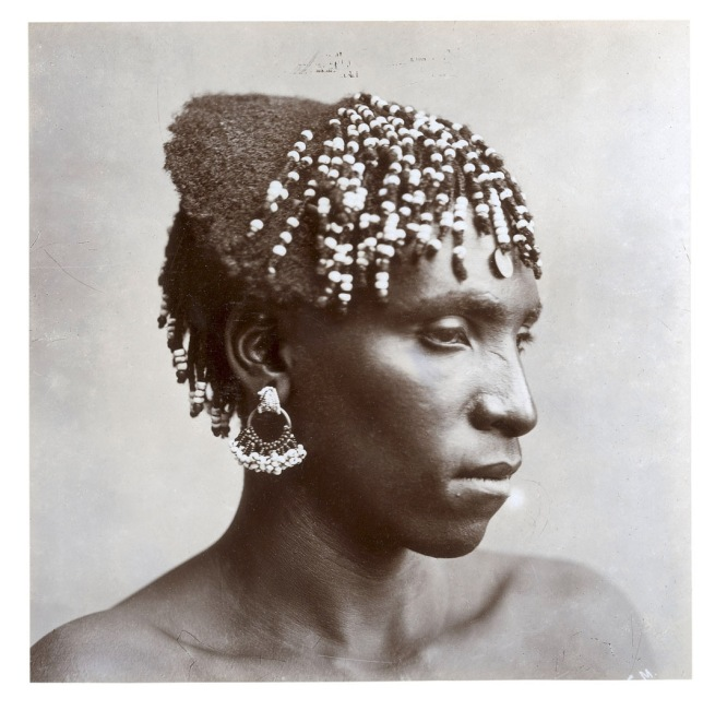 J. E. Middlebrook (attr.), inscribed: 'A Zulu girl. Hair strung with beads' South Africa, late nineteenth century