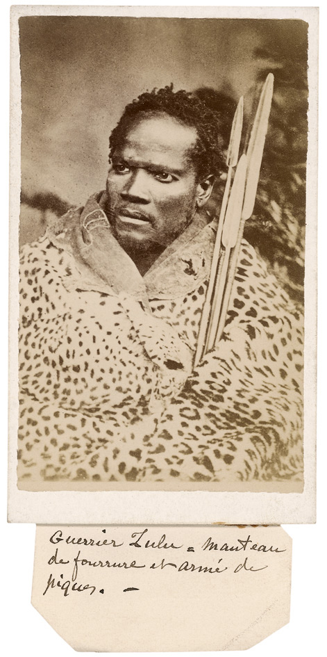 Kimberley Studio (New Rush, Diamond Fields). 'Zulu / Warrior in skin kaross, armed with assegais' and 'Guerrier Zulu a manteau de fourrure et armé de piques' South Africa, c. 1870s