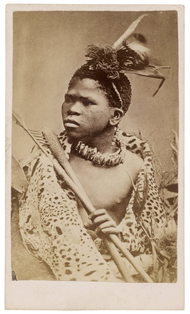 Gray Brothers (Diamond Fields). 'Zulu / Young Warrior in fighting order, and in skin Kaross. Armed with hatchet and assegai' South Africa. c. 1870s