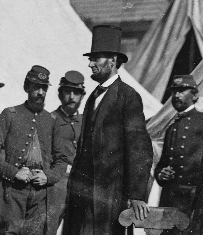 Alexander Gardner (1821-1882) '[Antietam, Md. President Lincoln with Gen. George B. McClellan and group of officers]' (detail) 3rd October 1862