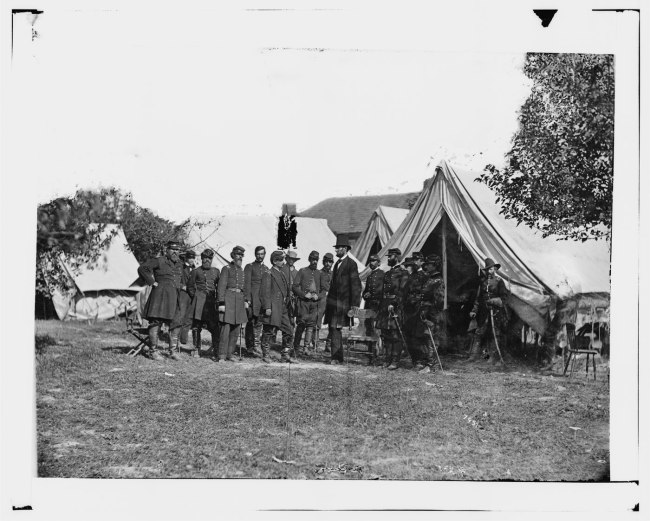 Alexander Gardner (1821-1882) '[Antietam, Md. President Lincoln with Gen. George B. McClellan and group of officers]' 3rd October 1862