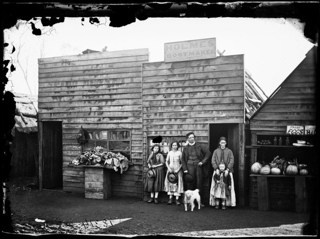 American & Australasian Photographic Company. 'Holmes, bootmaker, and Spiro Bennett's store, Gulgong' 1872