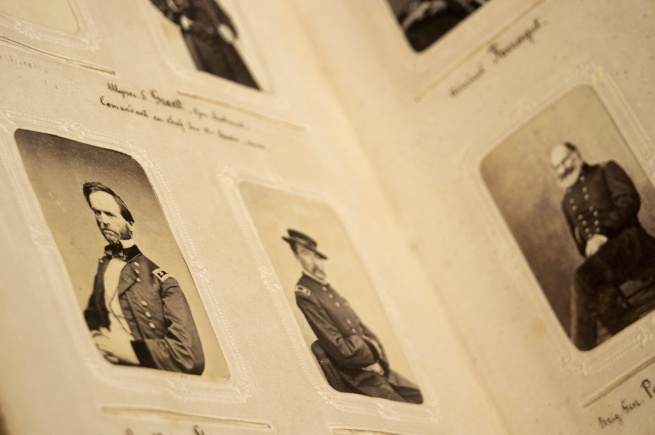 'This Civil-war era photo album of American political and military figures was owned by Karl Schenk, president of Switzerland' 1865