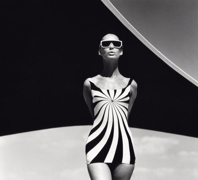 "F.C. Gundlach. '""Op Art"" bathing suit by Sinz, Vouliagmeni/Greece' 1966"