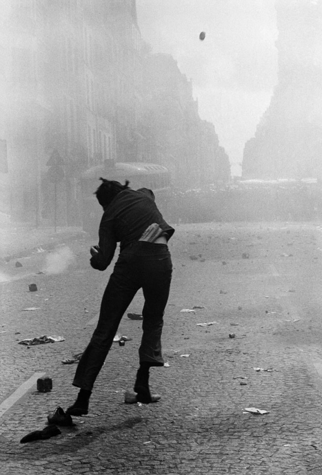 Gilles Caron. 'Protest rue Saint-Jacques, Paris, 6 May 1968' 1968