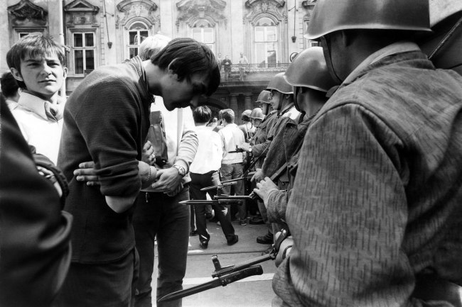 "Gilles Caron. 'Demonstration at the first anniversary of the Soviet repression of ""Spring in Prague"", Czechoslovakia, 21 August, 1969' 1969"