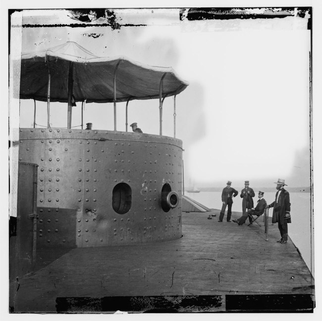 James F. Gibson. '[James River, Va. Deck and turret of U.S.S. Monitor seen from the bow (ie. stern)]' 9th July, 1862