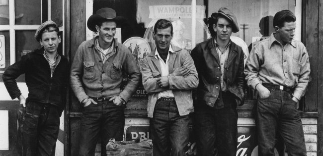 Gordon Parks. 'Drugstore Cowboys, Turner Valley, Canada' 1945