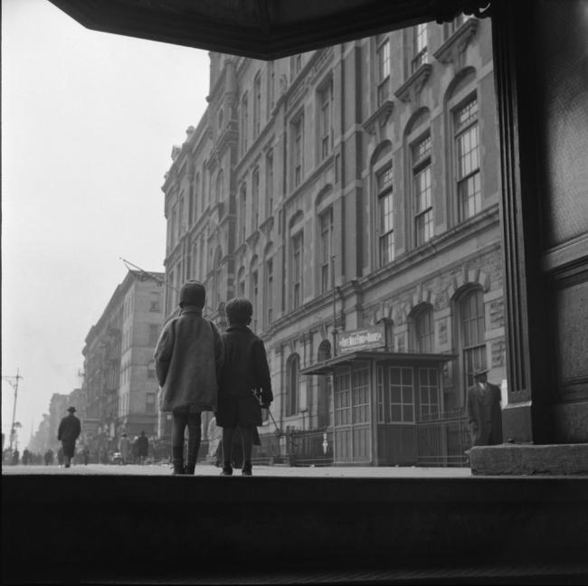 Gordon Parks. 'Street Scene: Two children walking, Harlem, NY, 1943' 1943