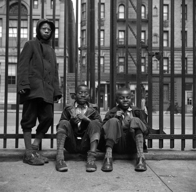 Gordon Parks. 'Street Scene: Three young boys, Harlem, NY, 1943' 1943