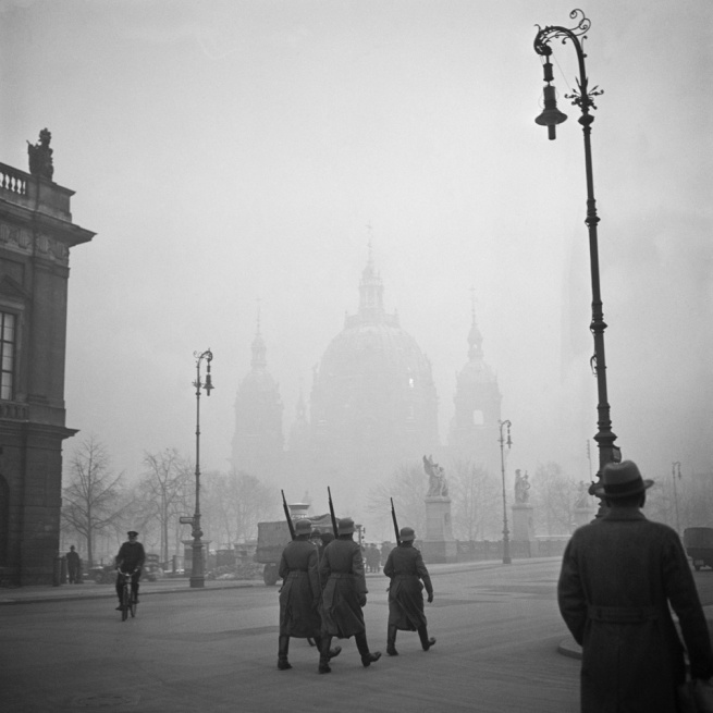 Roman Vishniac. 'Untitled [Nazi Storm Troopers marching next to the Arsenal in front of the Berlin Cathedral]' c. 1935
