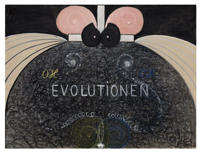 Hilma af Klint. 'Evolution, No. 7, Group VI, The WUS/Seven-Pointed Star Series' 1908