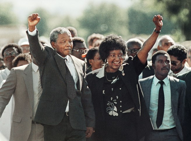 Greame Williams. 'Nelson Mandela and Winnie Mandela as he is released from the Victor Vester Prison' 1990