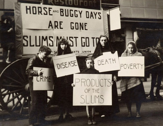 Joe Schwartz (born 1913, Brooklyn, New York) 'Slums Must Go! May Day Parade, New York' c. 1936