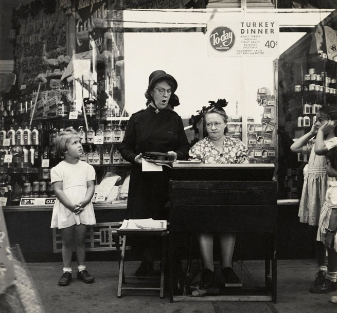 Lee Sievan (1907-1990, born Manhattan, New York) 'Salvation Army Lassie in Front of a Woolworth Store' c. 1940