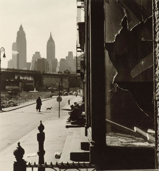Rebecca Lepkoff (American, born 1916) 'Broken Window on South Street, New York' 1948