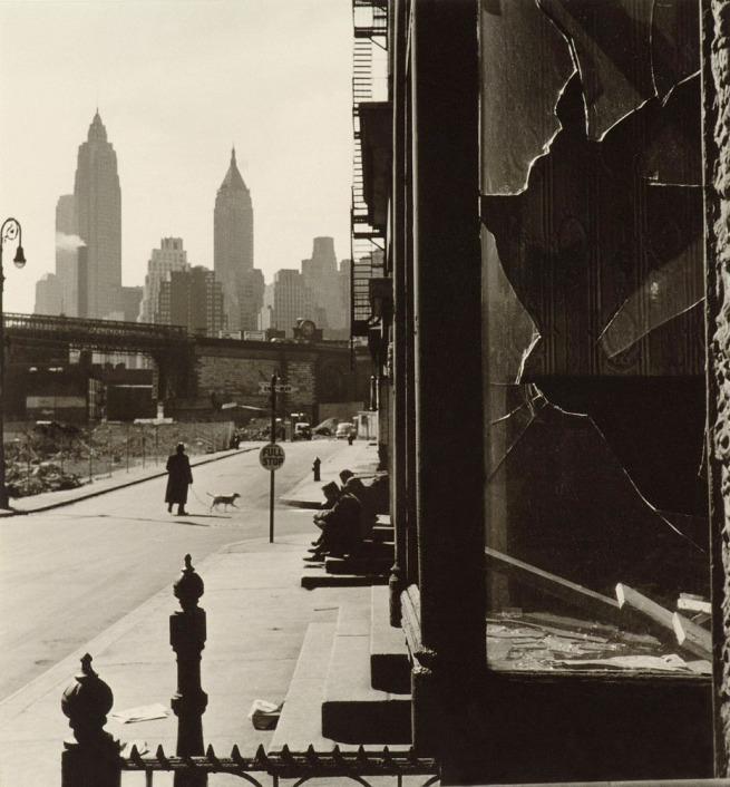 Rebecca Lepkoff (American, born 1916) 'Broken Window on South Street, New York' 1948