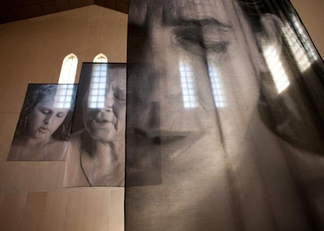 Installation photograph of Erika Diettes Sudarios (Shrouds) at Trinity Episcopal Church. Houston TX [USA] Feb-Apr 2012