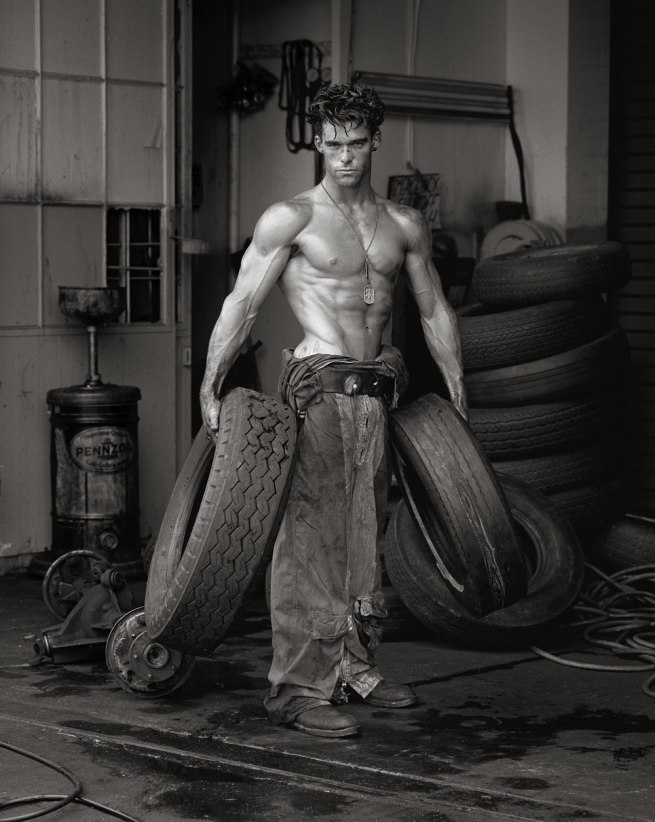 Herb Ritts (American, 1952-2002) 'Fred with Tires - Bodyshop Series, Hollywood' 1984