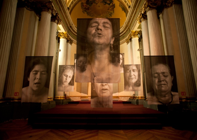 Installation photograph of Erika Diettes Sudarios (Shrouds) at Ex Teresa Arte Actual. México D.F. [MEX] May-Jun, 2012