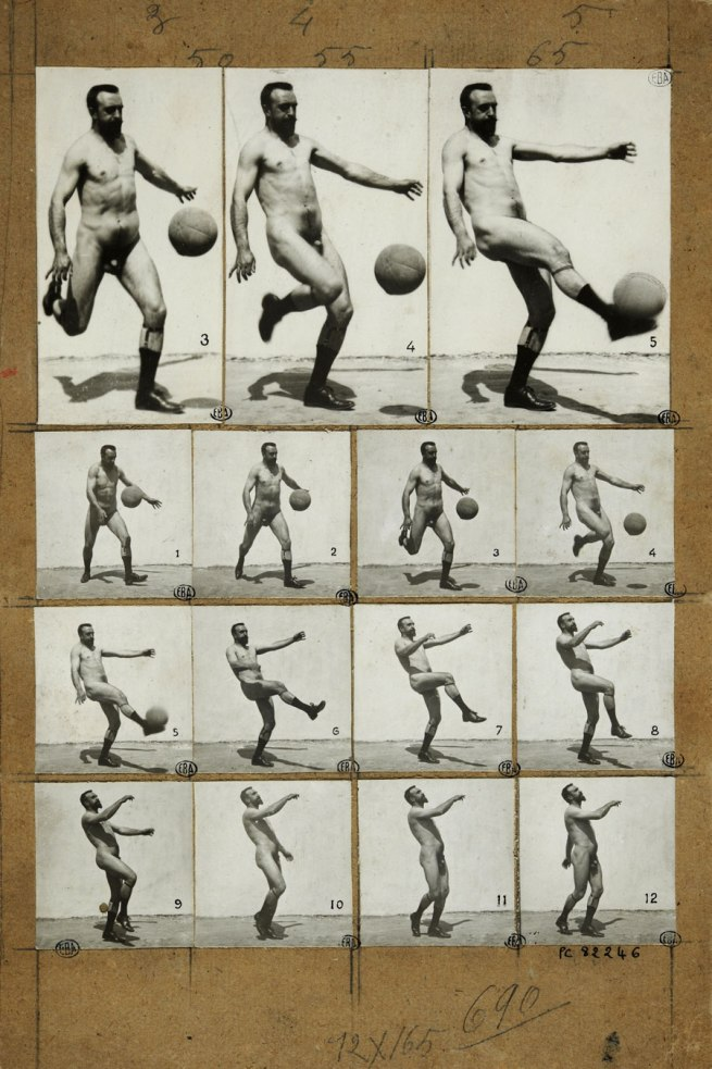 Albert Londe. '15 Chronophotographs of Charcot's son / Charcot plays football' c. 1890