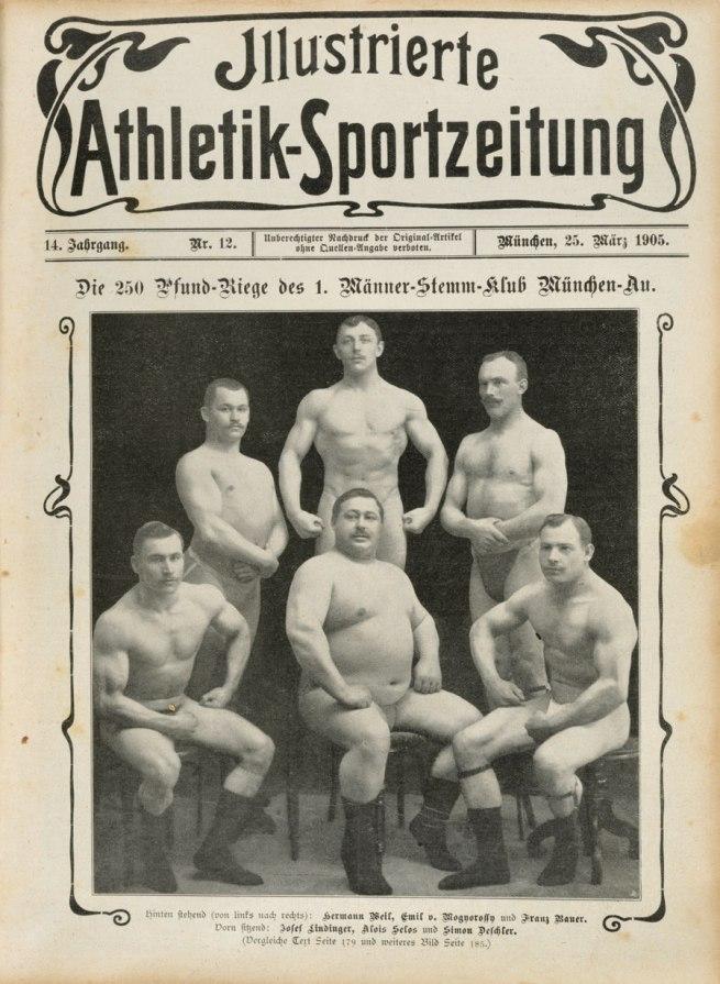 Photographer unknown. 'The 250-pound ranks of the 1st Caulking men's club, Munich' 1907