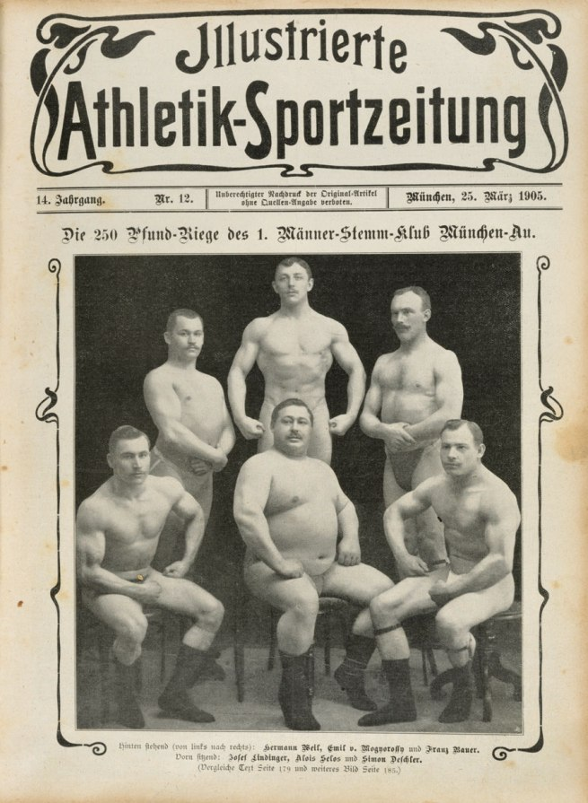 Photographer unknown. 'The 250-pound ranks of the 1st Caulking men's club, Munich' 1907