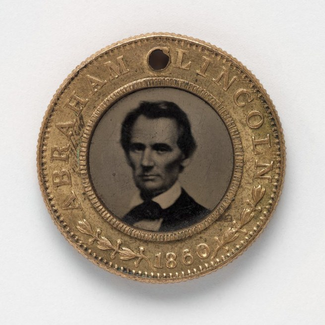 Unknown Artist, after an 1860 carte de visite by Mathew B. Brady. 'Presidential Campaign Medal with Portraits of Abraham Lincoln and Hannibal Hamlin' 1860