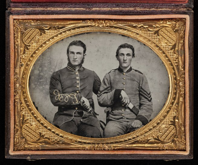 """Unknown Artist. 'Captain Charles A. and Sergeant John M. Hawkins, Company E, """"Tom Cobb Infantry,"""" Thirty-eighth Regiment, Georgia Volunteer Infantry' 1861-62"""