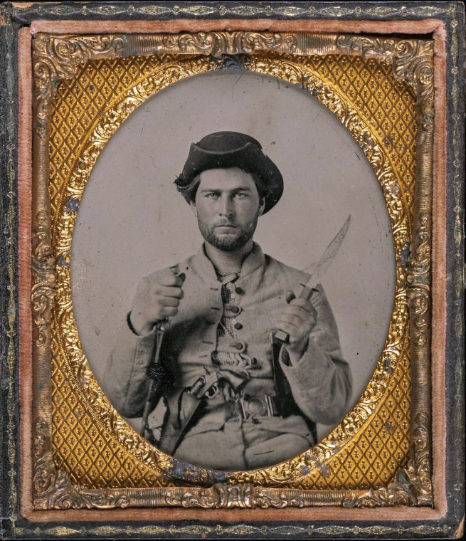 Unknown. '[Private James House with Fighting Knife, Sixteenth Georgia Cavalry Battalion, Army of Tennessee]' 1861-62?