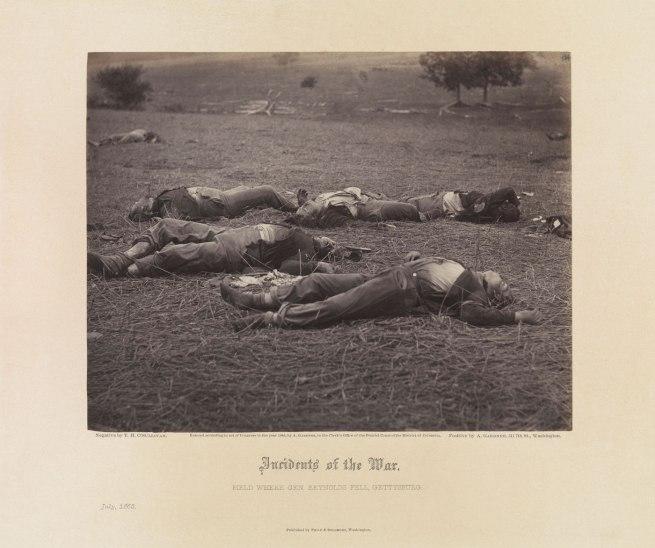 Timothy H. O'Sullivan (American, born Ireland, 1840-1882) Alexander Gardner, printer. 'Field Where General Reynolds Fell, Gettysburg, July 1863' 1863