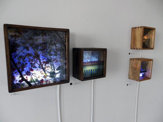Perran Costi. 'Autumn' (nearest), 'Bird House', 'Sunset on King Street' and 'Oasis' 2012