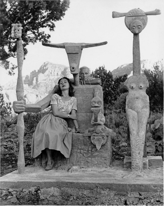 'Dorothea Tanning and Max Ernst with the cement sculpture Capricorne (Capricorn), Sedona, Arizona' 1948