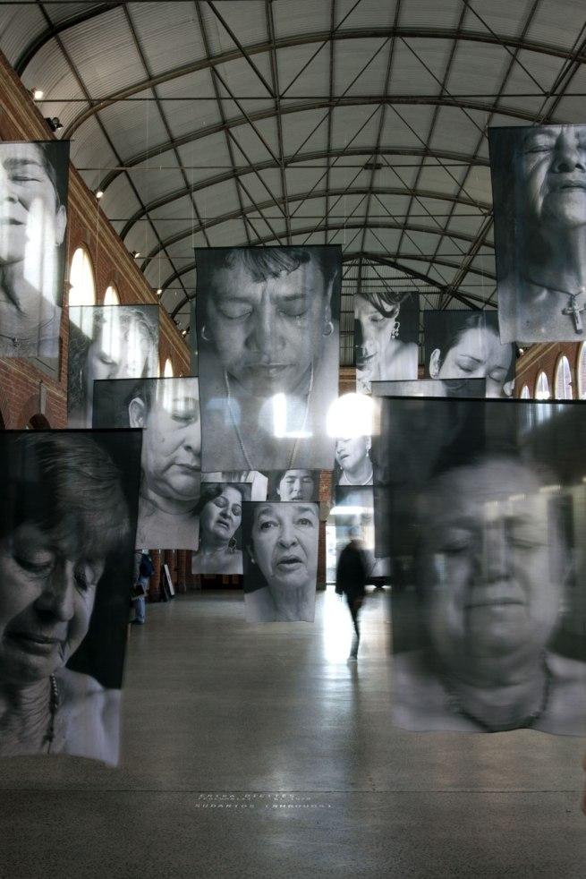 Installation photographs of 'Sudarios (Shrouds)' by Erika Diettes at the Mining Exchange, Ballarat. Photographs by Marcus Bunyan