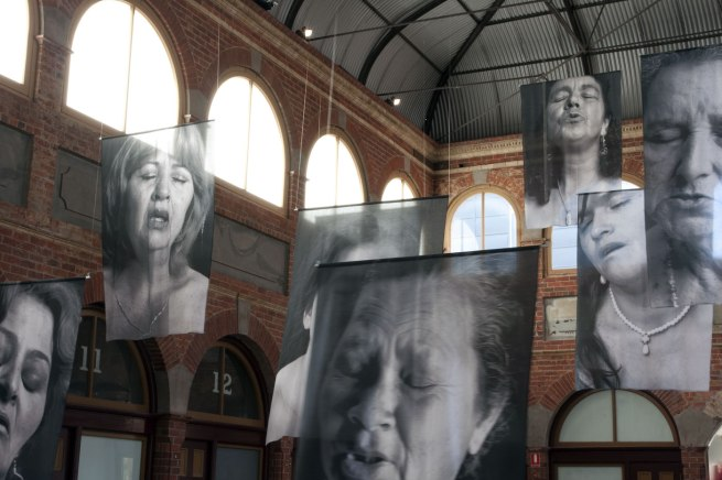 Installation photographs of 'Sudarios (Shrouds)' by Erika Diettes at the Mining Exchange, Ballarat. Photographs by Marcus Bunyan