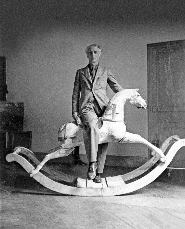 'Max Ernst with rocking horse, Paris' 1938