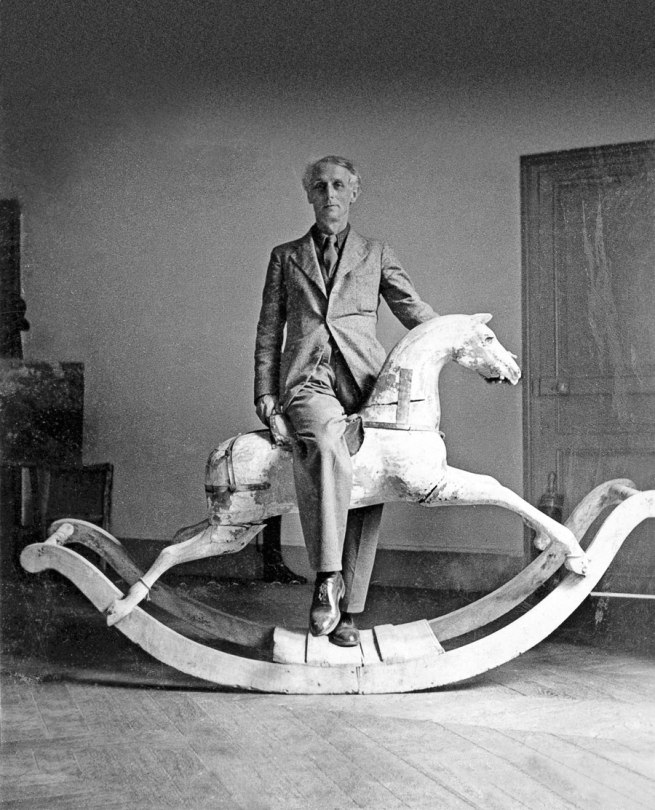 'Max Ernst with rocking horse, Paris' 1938