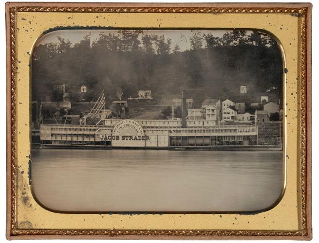 Attributed to Ezekiel Hawkins (American, 1808-1862) 'The Jacob Strader at Wharf, Cincinnati' c. 1853