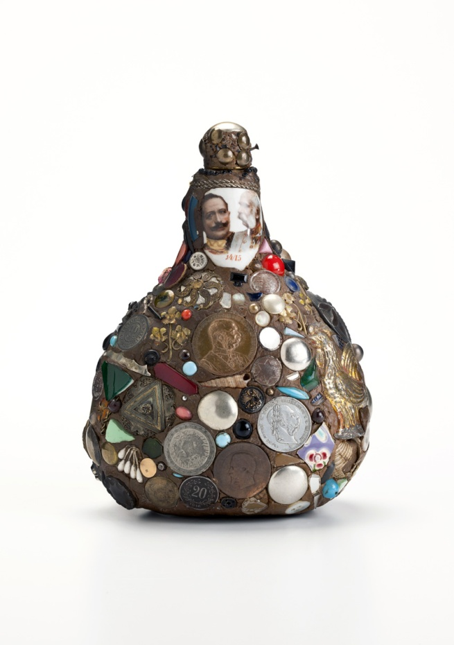 'Bocksbeutel bottle, covered with patriotic motifs and coins' c. 1915