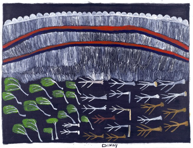 Dinny McDinny (NT c.1927-2003) Marnbaliya people, Balyarrinji skin group 'Kalajangu - Rainbow Dreaming came through Marnbaliya Country' 2003