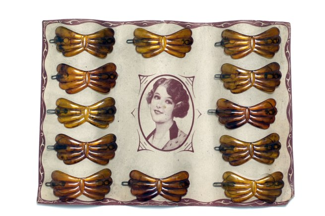 'Celluloid hair clips, mimic the natural material horn' 1920