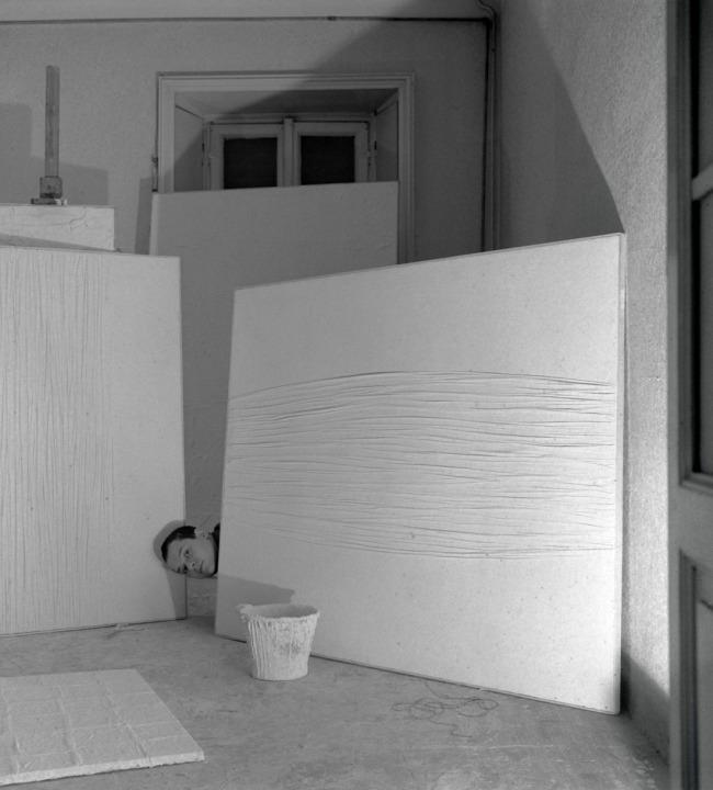 Ennio Vicario. 'Manzoni in his studio in Via Fiori Oscuri' 1958
