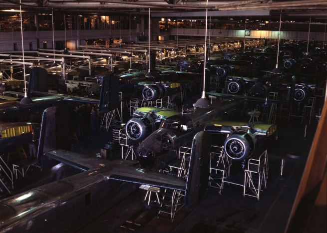 Alfred Palmer. 'A view of the B-25 final assembly line at North American Aviation's Inglewood, California, plant' Photo published in 1942