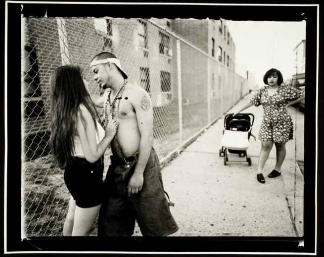 Vincent Cianni (American, b. 1952) 'Anthony hitting on Giselle, Vivien waiting, Lorimer Street, Williamsburg, Brooklyn' From the series 'We Skate Hardcore' 1996