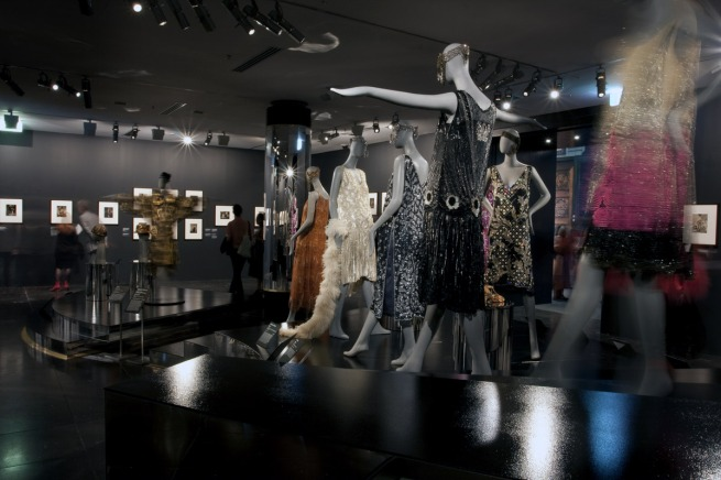 Installation photograph of the exhibition 'Edward Steichen & Art Deco Fashion' at NGV International