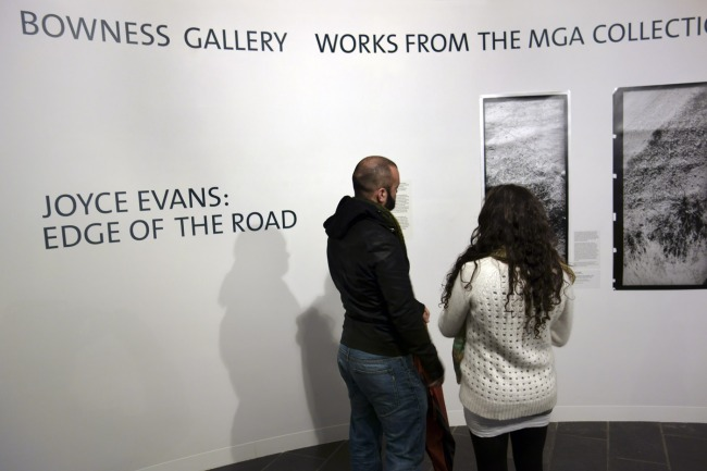 Joyce Evans 'Edge of the road' installation photographs and artist talk at Monash Gallery of Art