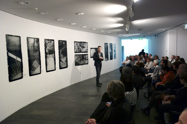Shaune Lakin, Director of the Monash Gallery of Art, speaking to the assembled