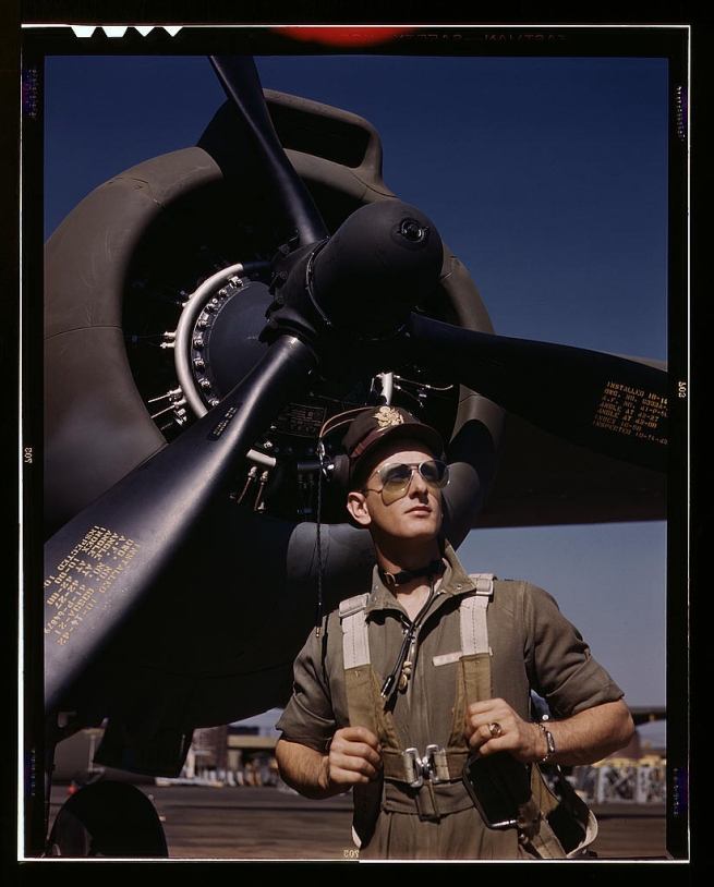 "Alfred Palmer. 'Lieutenant ""Mike"" Hunter, Army pilot assigned to Douglas Aircraft Company, Long Beach, Calif.' October 1942"
